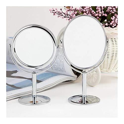 Makeup mirrors Miroir Bureau renouvelable Maquillage Support for Le Maquillage grossissant 2X Miroirs de Table, Ronde Double Face Miroir Argent Métal Chrome (Color : Round 3 inch)