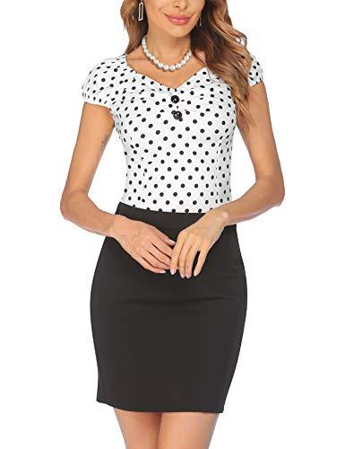 ELESOL Women Vintage Top Rockabily Shirts Retro Short Sleeve Top Elastic Sweetheart Neckline Blouse White XL