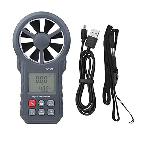 Anemómetro digital, alta sensibilidad WT87B Medidor de velocidad del viento digital LCD de alta precisión para CFM Probador de velocidad del aire para exteriores