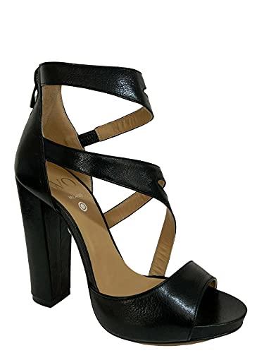 WO MILANO Sandalo Donna Pelle Nero Tacco 12 Art 554 Made in Italy (Numeric_38)
