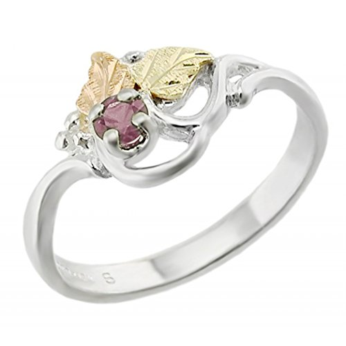 Created Alexandrite June Birthstone Ring, Sterling Silver, 12k Green and Rose Gold Black Hills Gold Motif, Size 5.75