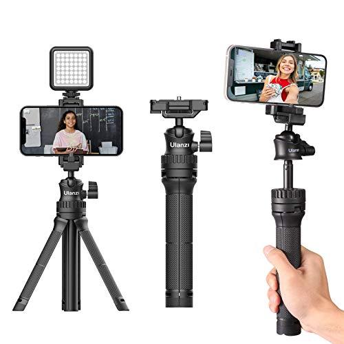 Linghuang MT-34 - Mini trípode extensible para tableta, palo selfie con pinza 2 en 1 para iPhone, cámara de acción, GoPro, Sony, Canon, Nikon, DSLR, Vloging, películas, transmisión en directo
