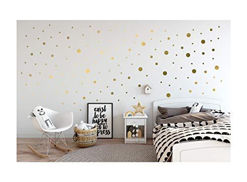 StickerDeen   Pegatinas de vinilo para decoración de pared, ventana, muebles, diseño de lunares y círculos, de tamaño mixto, 80 unidades, color dorado