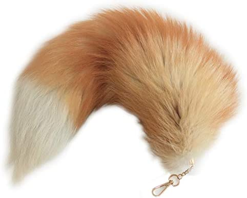 Fosrion Supper Huge and Fluffy Real Fox Tail Fur Halloween Cosplay Toy Handbag Charm Accessory Key Chain Ring Hook…