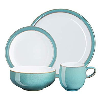 Denby Azure Coast Stoneware Dinner Set, 16-Piece - Turquoise from Denby
