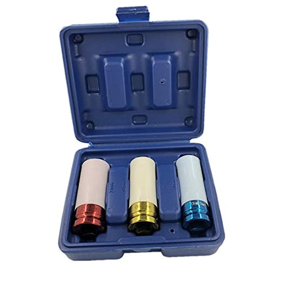 3Pcs 1/2'' 17Mm 19Mm 21Mm Alloy Thin Wall Wheel Nut Deep Impact Socket Drive Set for Friend Repair Tool Set Gift Box