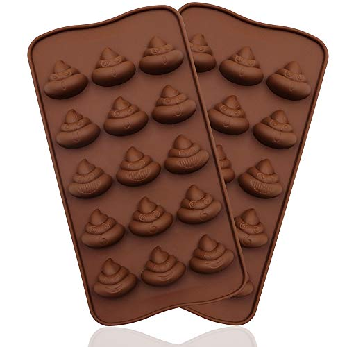 WYBG 2Pcs Poop Silicone Molds, Silicone Funny Poop Molds for Chocolate, Cake, Candy, Pudding, Fondant, Poop Emotion Baking Mold, Soap Molds for Soap Making, 15 Cavities (Brown)