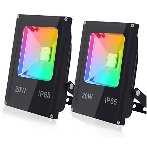 Hengda 2 x 20W Focos LED RGB Exterior Foco Colores con Control...