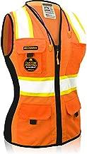 KwikSafety (Charlotte, NC) FIRST LADY Safety Vest for Women   Class 2 ANSI OSHA PPE   High Visibility Heavy Duty Mesh Pockets Zipper   Hi-Vis Construction Work Hi-Vis Surveyor Female   Orange Large