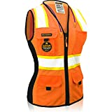 KwikSafety (Charlotte, NC) FIRST LADY Safety Vest for Women (Solid REFLECTIVE TAPE) Premium Class 2 Custom High Visibility ANSI OSHA 9 Pockets Fitted Construction Work with Zipper   Orange Large