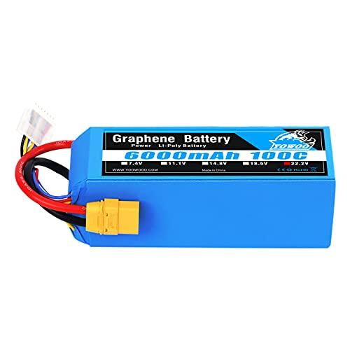 YOWOO 6S Graphene Battery 6000mAh 100C 22.2V Lipo Batteries with XT90 Plug for Mikado Logo 550, Align T-REX 550 600 700, Sab Goblin 630, Large Multirotors, 1/5 Scale Redcat Rally, Arrma Mojave 6S