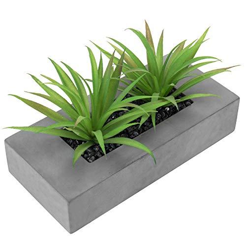 MyGift Artificial Green Grass Plants with Modern Rectangular Gray Concrete Planter Box