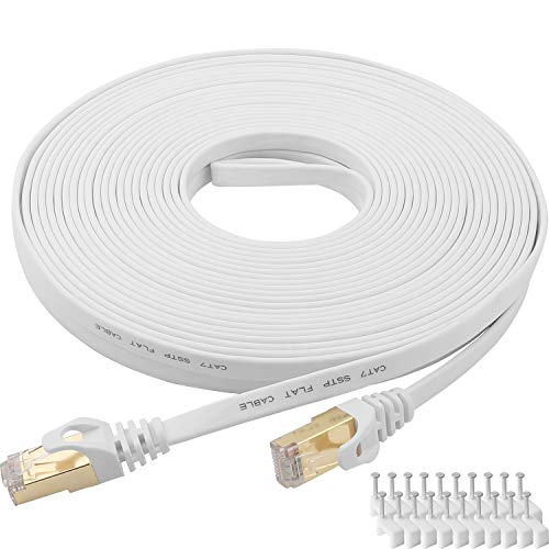 Cable Ethernet Cat 7 de 100 pies blanco plano Gigabit de alta velocidad blindado RJ45 LAN Cable