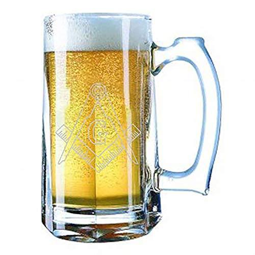 Giant Laser Engraved Beer Mug 28 Ounces Beer Stein - Mason Masons Masonic Live Better Logo Symbols