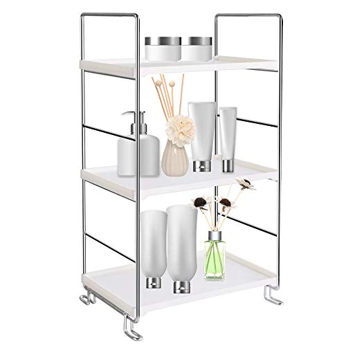 Hpenp 3-Tier Bathroom Countertop Organizer - Vanity Tray Cosmetic Skincare Makeup Storage - Kitchen Spice Rack Standing Shelf Silver