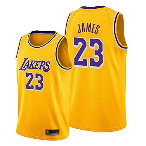 HTTC Läkërs # 23 Jämës Basketball Jersey Malla Chaleco Retro Camiseta sin Mangas Camiseta Unisex Fans Jersey Letter Jersey S-XXL Yellow-S