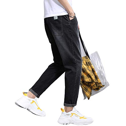 Segindy Pantalones Vaqueros para Hombre Pierna Recta Suelta Cintura elástica cómoda Tendencia Pantalones de Mezclilla Casuales de Todo fósforo con cordón L