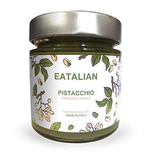 EATALIAN Crema de pistacho para untar 200 gramos,Crema de pistacho natural y proteína siciliana, Pasta de proteína hecha en Italia Calidad superior. Sabor dulce Ideal para pan y para rellenar pasteles