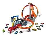Hot Wheels Spin Storm Track Set Orange Track High Speed Multi-Lane Loops Motorized BoosterAges 6...