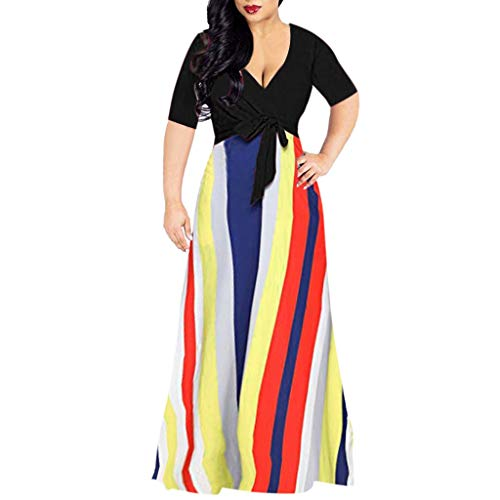 Review Of Auimank Skirt Sets for Women Women Half Sleeve Stripes Sexy Deep V Neck Maxi Party Cocktail Club Long Dress(X-Large,Black)