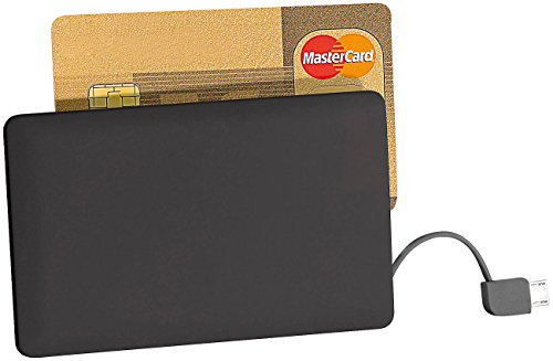 revolt Powerbank Scheckkarte: Ultra-Slim-Powerbank im Kreditkarten-Format, 2500 mAh, Micro-USB-Kabel (Powerbank Scheckkartenformat)