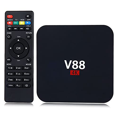 ZHKXBG Android TV V88 Smart Set Top Box, Android 7.1 Box Quad Core 4K WiFi HDMI 8G HD H265 Reproductor Multimedia para Entretenimiento en el hogar,2gb+16gb