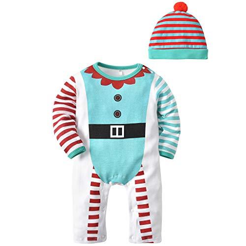 Bebe Mameluco Niños Pijama Mono - Bebé Niñas Conjunto de Ropa con Gorra Algodón Manga Larga Patrón de Navidad Onesie Conjunto de Peto