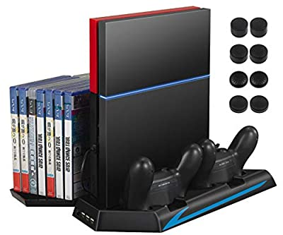 AMIR PS4 Vertical Stand Cooling Fan, Cooler Charging Station with 2 Controller Charging Port + 14 Game Disc Storage + 3 HUB Ports + 8 Controller Thump Grips (Not for Pro or Slim)