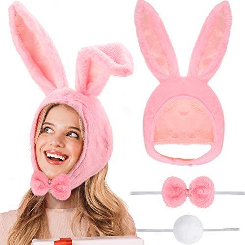 Kit de Disfraz de Conejo Sombrero de Orejas de Conejo de Pascua Kit de Pajarita y Cola para Nios y Adultos Favores de Fiesta, Paquete de 3 (Rosa)