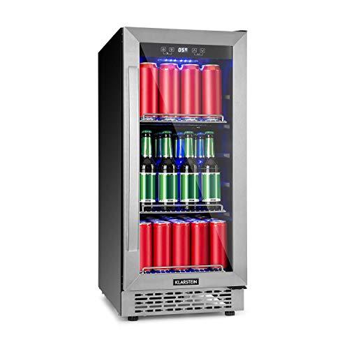 Klarstein Beerlager 88 Getränkekühlschrank, 88 Liter, 33 Flaschen, Unterbaufähig, 86,5 cm Höhe, Glastür mit Edelstahlrahmen, 3 Einschübe, Temperatur: 0-10 °C, Touch-Bedienfeld, schwarz