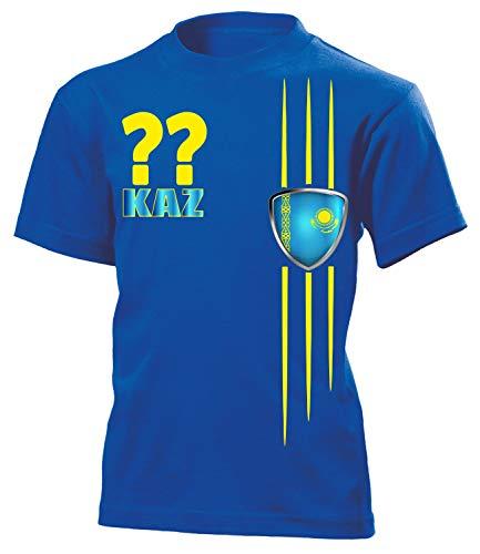 Kasachstan Kazakhstan Wunsch Zahl Fanshirt Fussball Fußball Trikot Look Jersey Kinder Kids Unisex t Shirt Tshirt t-Shirt Fan Fanartikel Outfit Bekleidung Oberteil Hemd Artikel