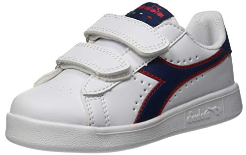 Diadora Game P Ps, Scarpe da Ginnastica Unisex – Bambini, Multicolore (White/Estate Blue/Tomato C7628), 30 EU