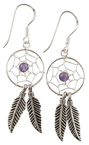 FILANGO 925er pendientes de plata de Atrapasueños de piedra Amatista