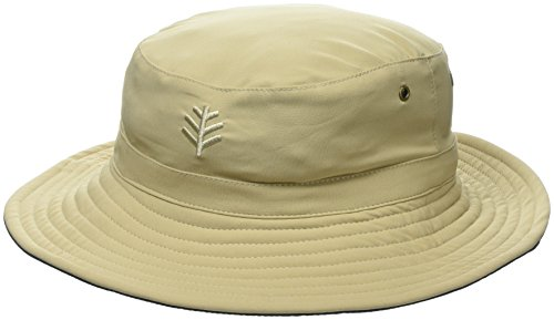 Coolibar UPF 50+ Men's Women's Landon Reversible Bucket Hat - Sun Protective (XX-Large- Tan/Navy)