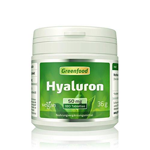 Hyaluron, 50 mg reines Hyaluron, hochdosiert, 180 Tabletten, vegan – wichtiger Baustoff für Haut, Bindegewebe und Gelenke. OHNE künstliche Zusätze. Ohne Gentechnik.