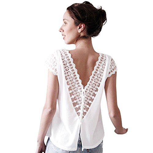 Ba Zha Hei Damen Somme Spitze Kurzarm Mantel V-Kragen Chiffon Rückenfrei Mantel Shirt Lose Fit T-Shirt Oberteile Kurzarm T-Shirt Top V-Ausschnitt Chiffon Tops Backless Bluse (S, Weiß)