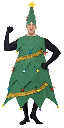 Smiffys-33301 Disfraz de árbol de Navidad, con túnica y Gorro, Deluxe, Color Verde, Tamaño único (Smiffy'S 33301)