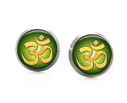 Sunshine Pendientes de perno prisionero verde del símbolo del OM, adornos de cristal de la cúpula, regalos para ella