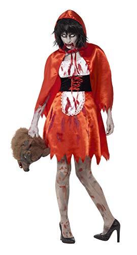 Halloween! Smiffys Zombie Rotkäppchen Kostüm, Rot, mit Kleid & Umhang
