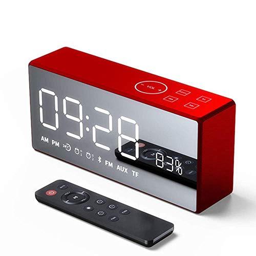 GaoF Altavoz Bluetooth inalámbrico, Espejo Grande Reloj Despertador con Sonido de Choque de Alta fidelidad Operación de Llamada bidireccional Altavoz