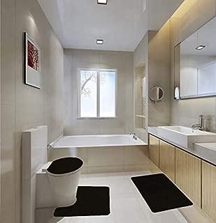 GorgeousHome Affordable 3PC Solid Set Soft Bathroom Anti-Slip Bath Rug Contour MAT Toilet LID Cover Many Colors (#6 Black)