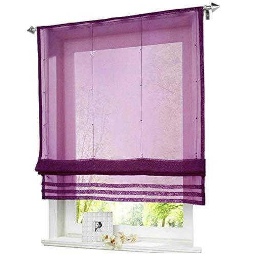 ESLIR Estor para cocina, con cordón, color blanco, gasa transparente, violeta, 80 x 155 cm, 1 pieza
