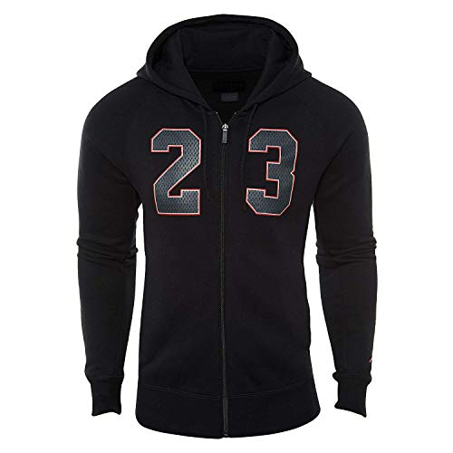 Jordan Nike Mens Flight Fleece Full Zip Hoodie Black/University Red AJ6390-010 Size Medium