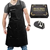 ecoZen Lifestyle Professional Grade Apron for Men (10 oz Cotton) Ideal for Kitchen, BBQ, Cooking, Chef and Grill | Fully Adjustable (M to XXL) and Comfort + Pockets (Black)