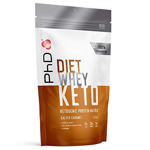 PhD Nutrition Diet Whey Keto Protein Powder, Salted Caramel, 600 g