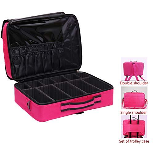 Voyage maquillage train Sac maquillage étui portable avec séparateurs réglables Oxford imperméable grande capacité avec une seule bandoulière,rosered,L