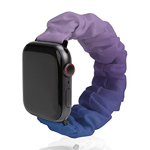 Cinturino da uomo e donna, compatibile con Apple Watch 42 mm/44 mm, morbido elastico elastico di ricambio per iWatch Series SE 6/5/4/3/2/1, ultra violetto, blu, lilla, sfumatura sfumata.