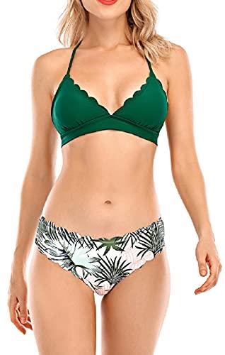 UMIPUBO Conjunto de Bikini Mujer Traje de Baño de Dos Piezas Borde Ondulado Dividido con Cuello Halter Ropa de Playa Ropa de Baño Tops y Braguitas (Verde, L)