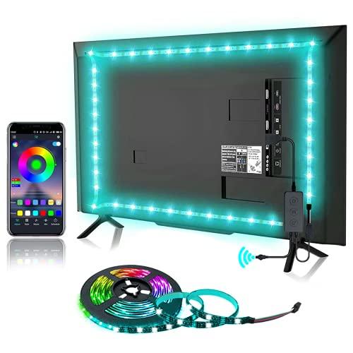 Wandskllss Tira LED RGB Tira de LED USB para HDTV Luz de fondo de TV alimentada por USB Luz de fondo flexible impermeable Lámpara de rayos LED multicolor con control remoto Decoración para el hogar