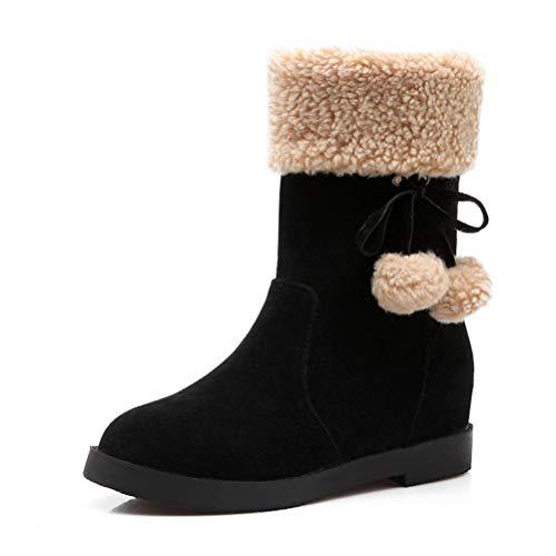 Botas para Damas Calzado De Invierno para La Mitad De La Pantorrilla Calzado Superior CáLido ResbalóN En Pisos De Moda para NiñAs con Preciosas Botas De Bolas con Nudo De Mariposa